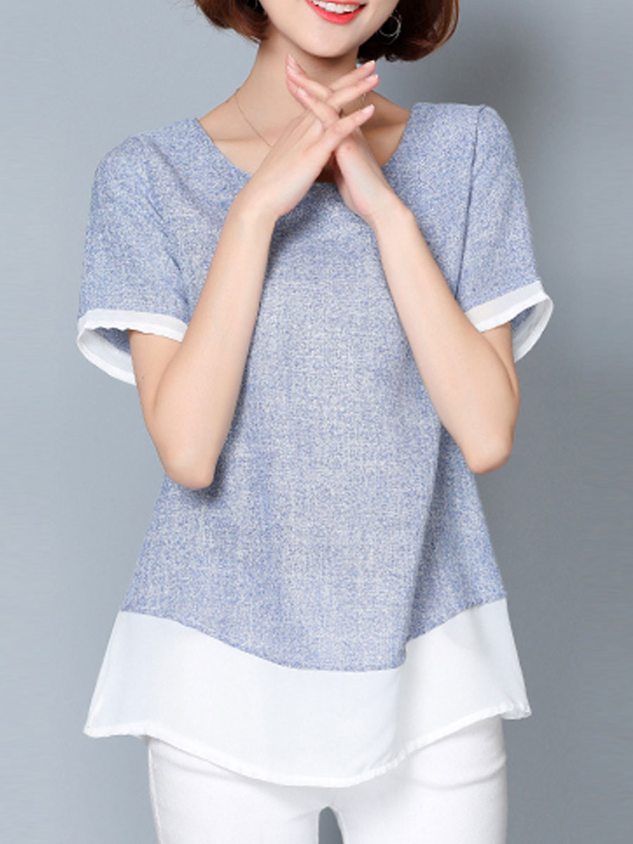 Image For Spring Summer  Cotton  Women  Round Neck  Patchwork  Plain Short Sleeve T-Shirts