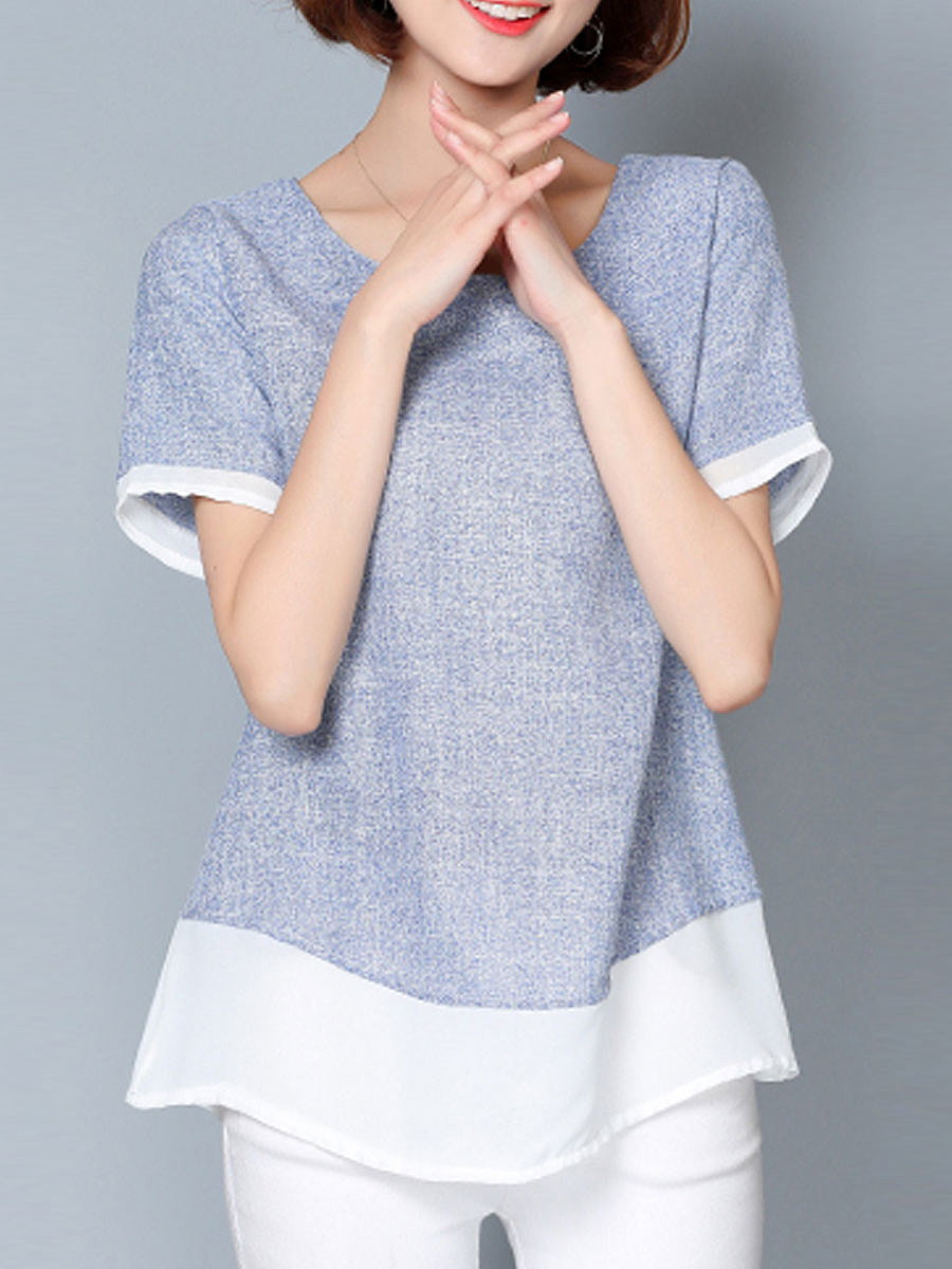Spring Summer  Cotton  Women  Round Neck  Patchwork  Plain Short Sleeve T-Shirts