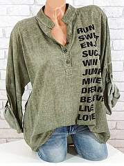 Autumn Spring Summer  Polyester  Women  V-Neck  Letters Blouses