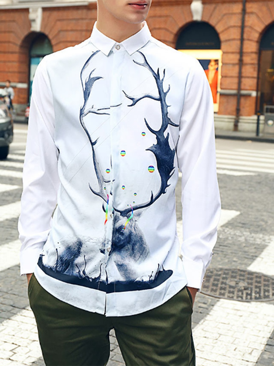 Distinctive Printed Long Sleeve Men Shirts