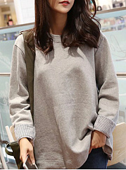 Round Neck  Patchwork  Patchwork  Batwing Sleeve Long Sleeve T-Shirts