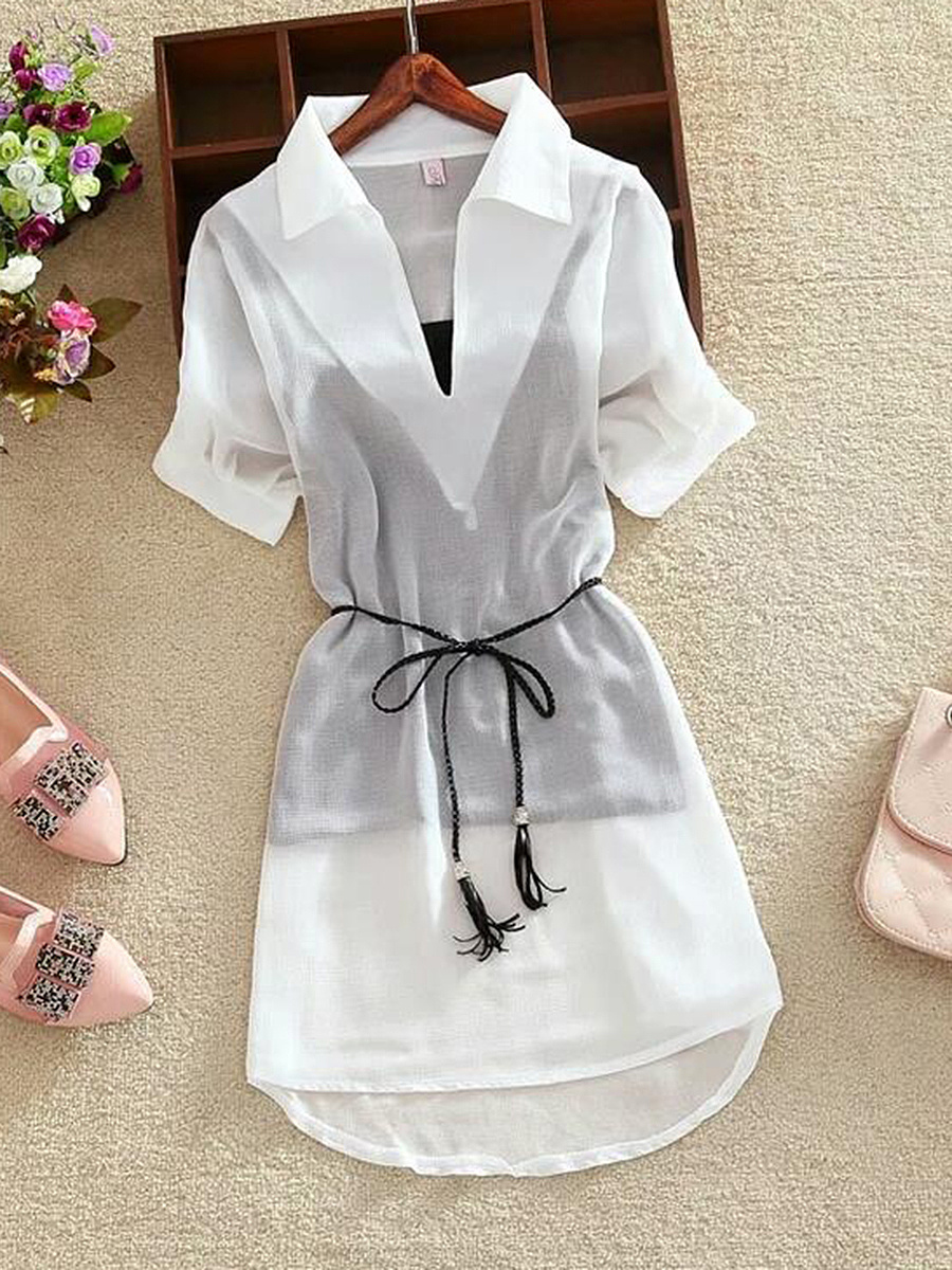 V-Neck  Hollow Out Two-Piece Blouse