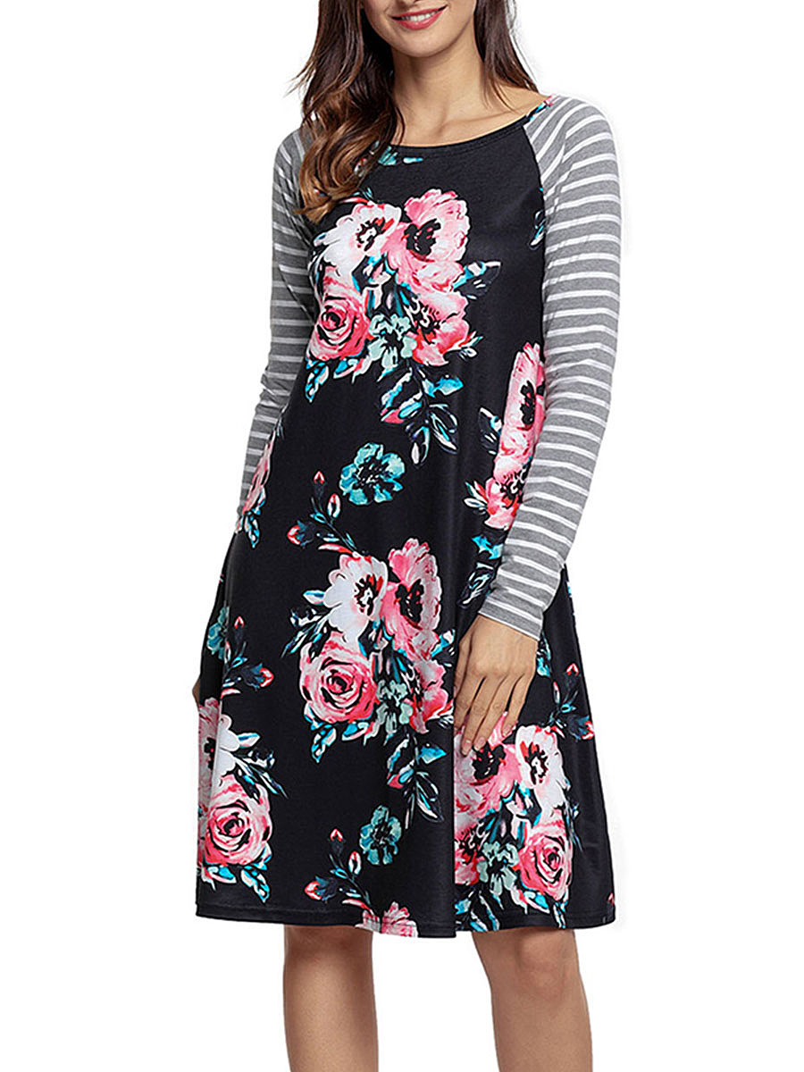 Round Neck Floral Shift Dress With Striped Raglan Sleeve