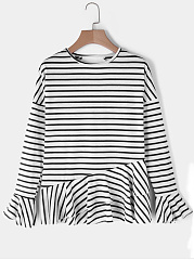 Autumn Spring  Cotton  Women  Round Neck  Backless  Striped  Bell Sleeve Long Sleeve T-Shirts