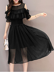 Open Shoulder Flounce Plain Chiffon Skater Dress