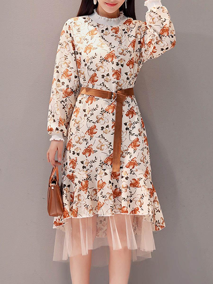 patchwork floral printed flared date autumn spring fashion Band Collar Patchwork Floral Printed Belt Skater Dress