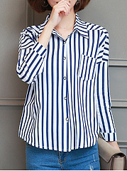 Turn Down Collar  Loose Fitting Single Breasted  Stripes Blouses