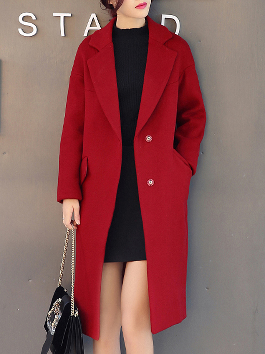 Solid Lapel Belt Woolen Coat