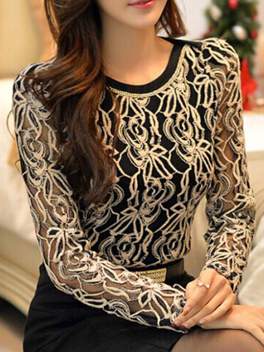 Image For Autumn Spring  Polyester  Women  Round Neck  Decorative Lace  Floral  Long Sleeve Blouses