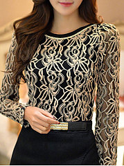 Autumn Spring  Polyester  Women  Round Neck  Decorative Lace  Floral  Long Sleeve Blouses