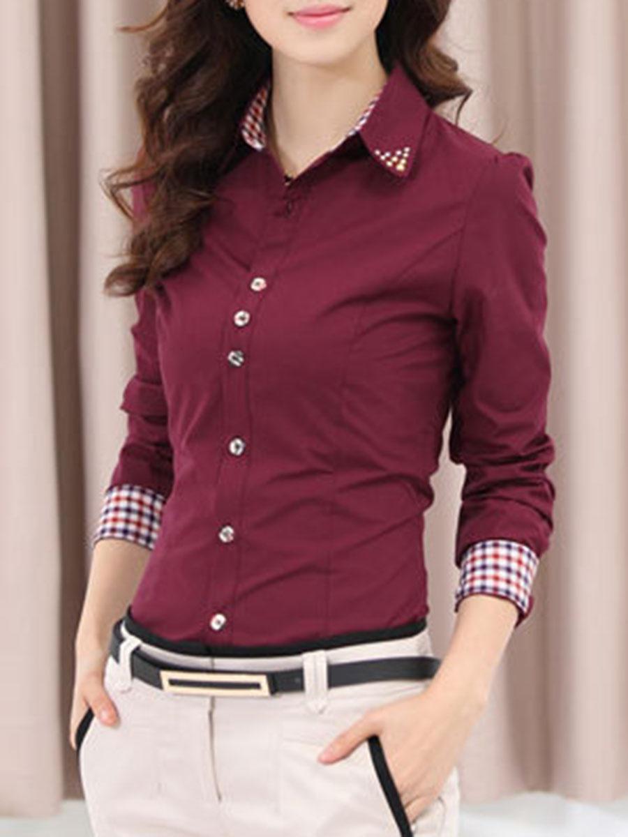 plaid casual office autumn spring blouses Turn Down Collar Plaid Cuff Rhinestone Blouse