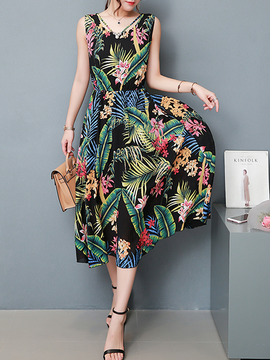Tropical Leaf Floral Printed V-Neck Chiffon Maxi Dress