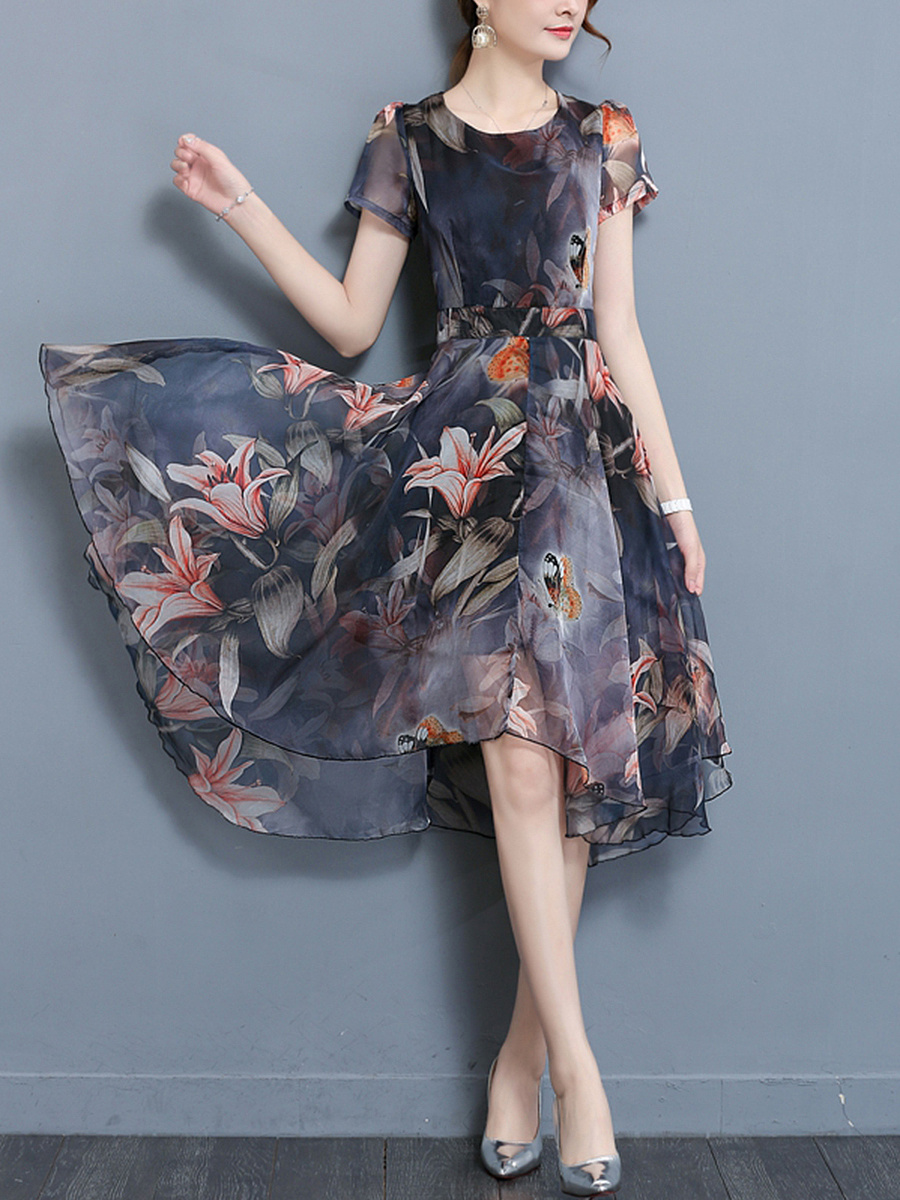 Round Neck Floral Printed Chiffon High-Low Skater Dress