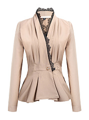 Deep V-Neck  Decorative Lace  Plain  Long Sleeve Blazers