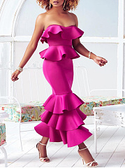 Strapless Flounce Plain Mermaid Evening Dress