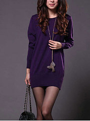 Round Neck  Plain Long Sleeve Sweater