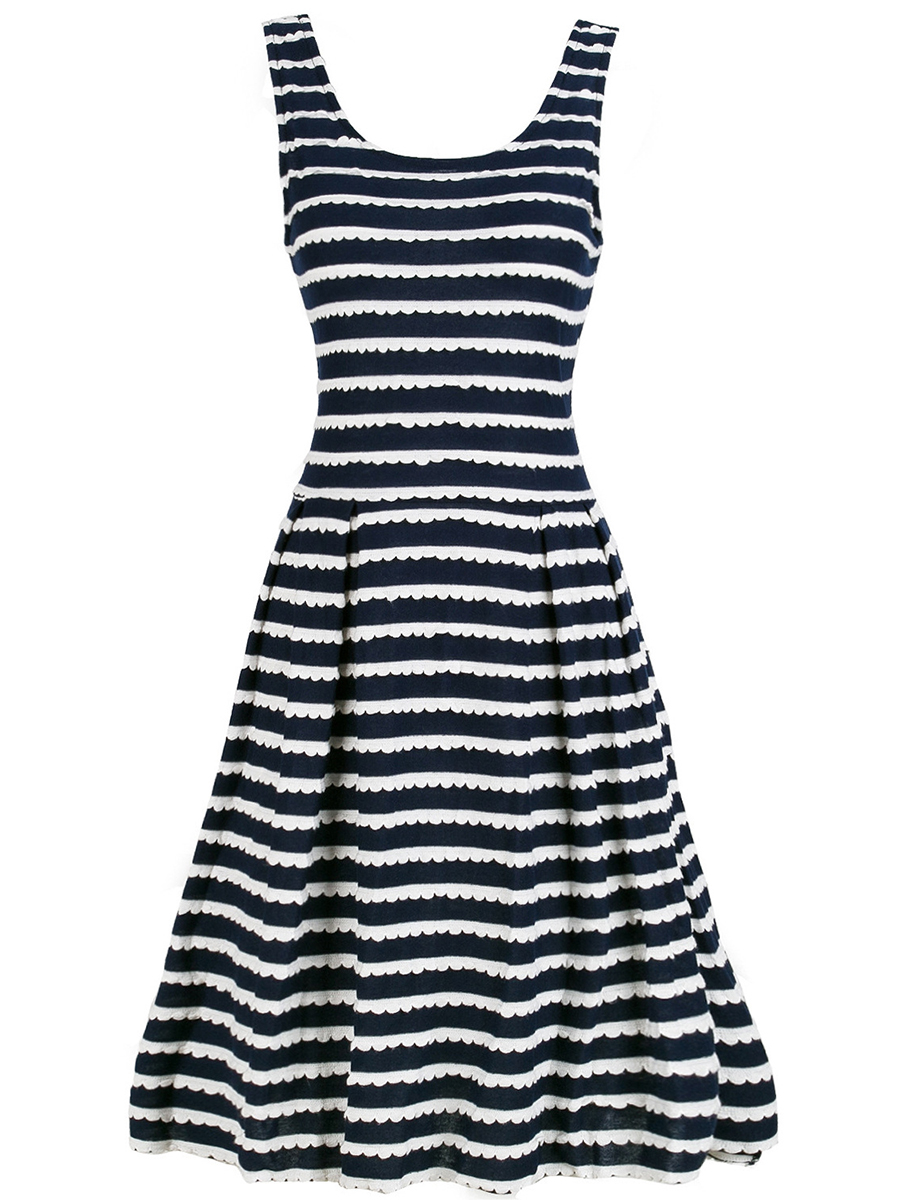 embossed striped flared casual date summer Embossed Striped Round Neck Skater Dress