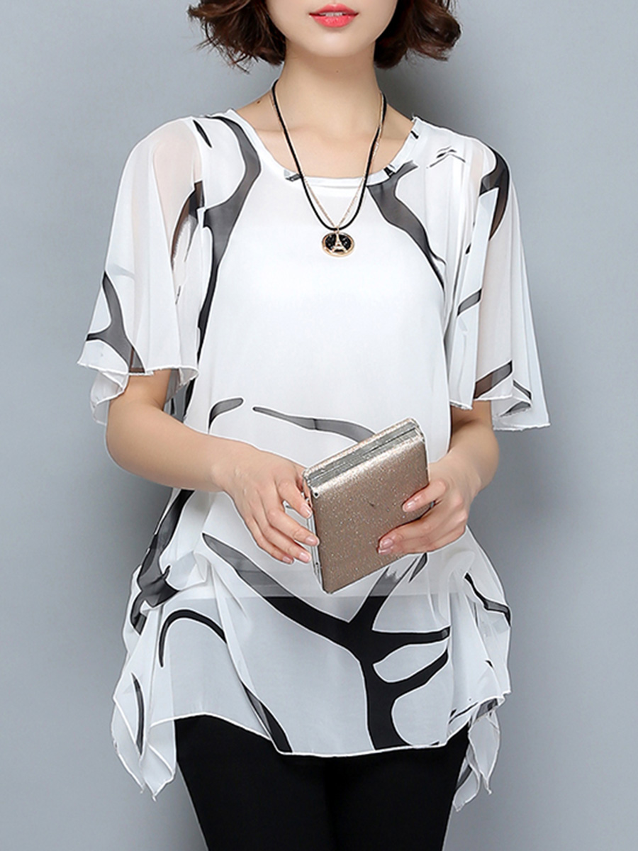 hollow out printed casual summer t-shirts Round Neck  Hollow Out Printed Ruffle Sleeve T-Shirt