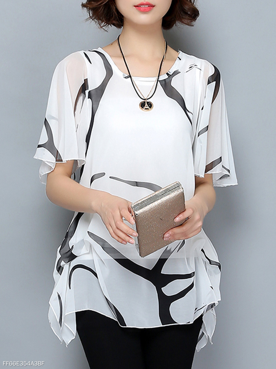 Round Neck  Hollow Out Printed Ruffle Sleeve T-Shirt