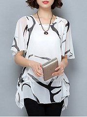 Round-Neck-Hollow-Out-Printed-Ruffle-Sleeve-T-Shirt
