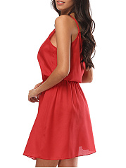 Spaghetti Strap  Plain Skater Dress