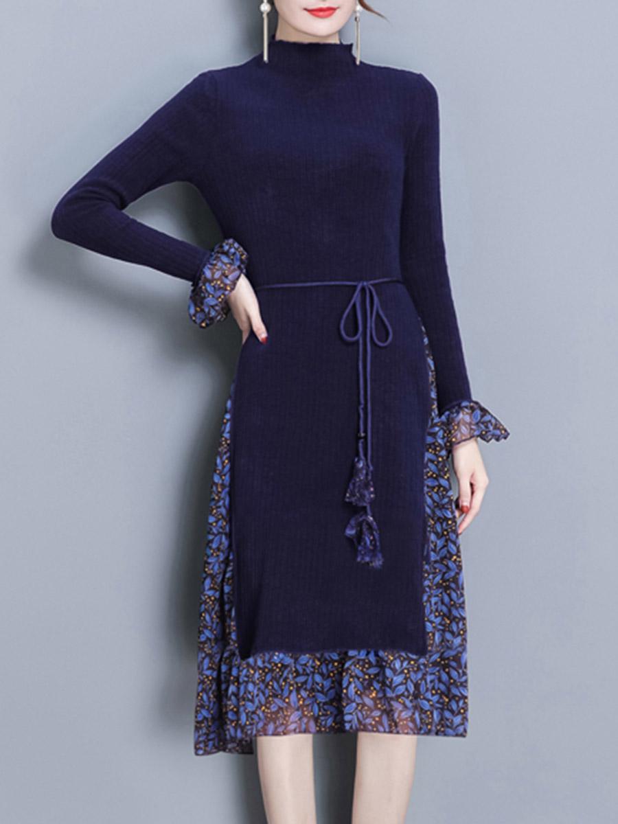 elegant fashion patchwork printed date party spring winter flared High Neck Patchwork Belt Printed Knitted Midi Skater Dress