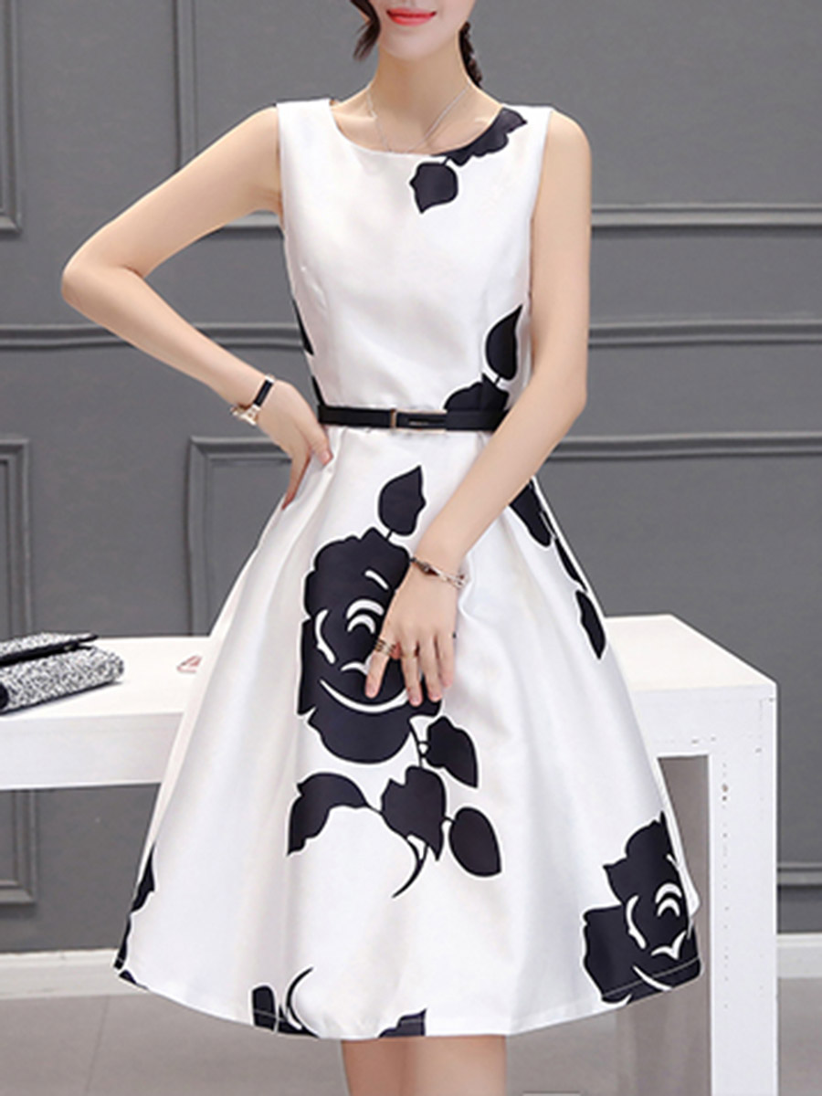 elegant vintage floral printed date summer flared Round Neck Floral Printed Belt Skater Dress