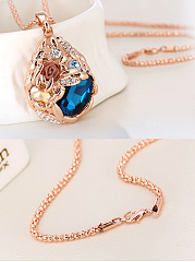Hollow Out Crystal Drop Shape Long Necklace