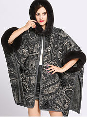 Hooded  Contrast Trim  Abstract Print  Cape Sleeve  Half Sleeve Coats