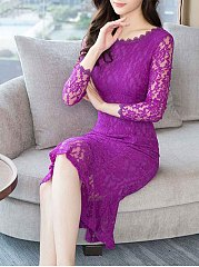 Sexy Hollow Out Solid Lace Mermaid Bodycon Dress