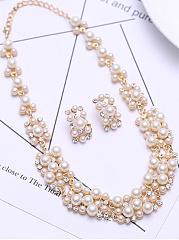 Geometric Double Row beads Set Rhinestone Jewelry