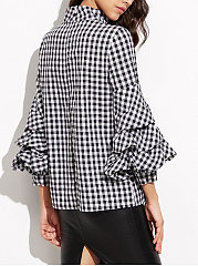 High Neck  Flounce  Plaid  Puff Sleeve  Long Sleeve Blouses