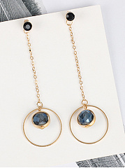 Open Circle Imitated Crystal Drop Earrings