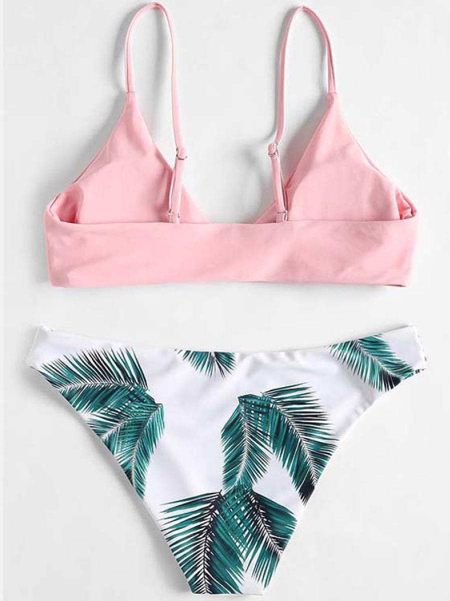 Palm Leaf Pink And Green Bikini