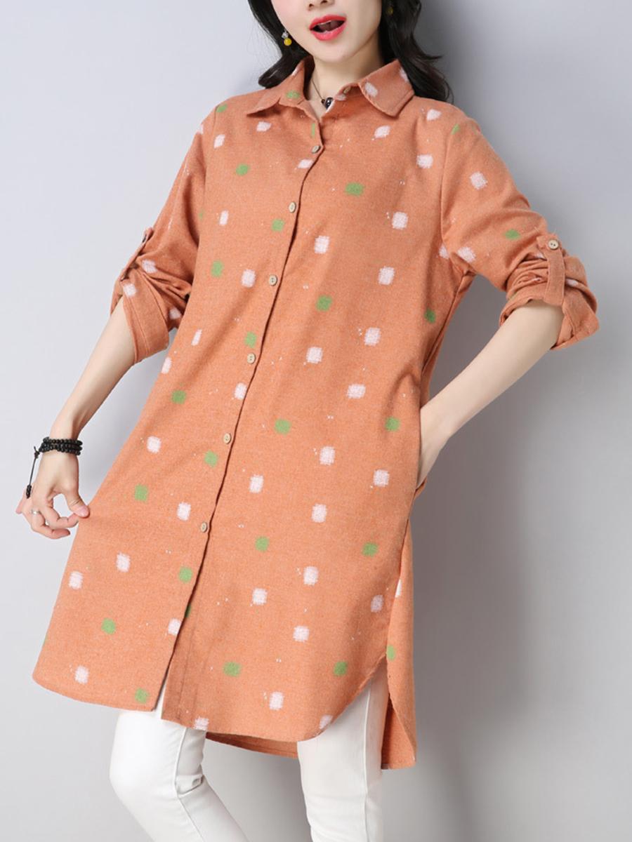 fashion printed casual autumn winter shift Turn Down Collar  Printed Shift Dress