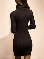 Cowl Neck Solid Knitted High Stretch Bodycon Dress