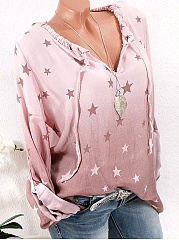 Autumn Spring Summer  Cotton/Linen  Women  V-Neck  Drawstring  Printed  Long Sleeve Blouses