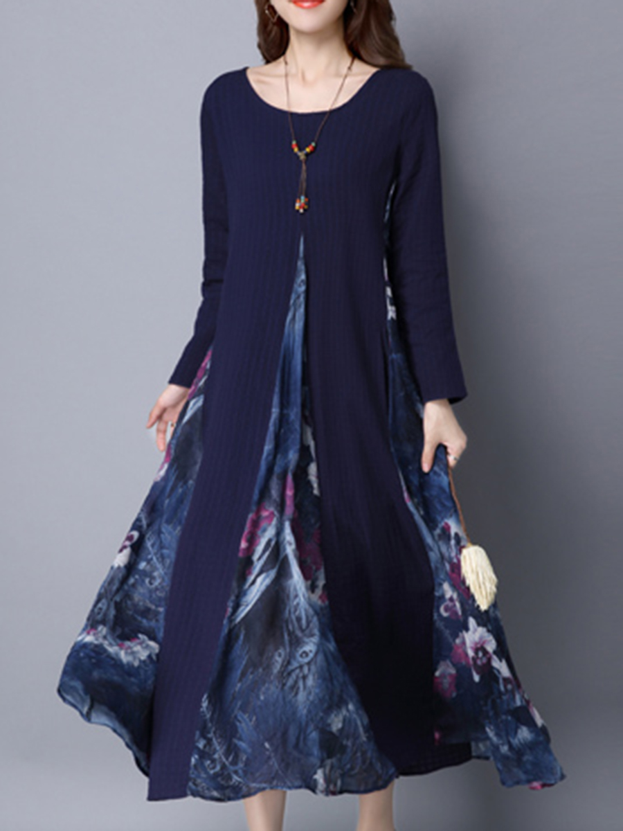 slit pocket printed vacation autumn winter flared Round Neck Printed Pocket Maxi Dress
