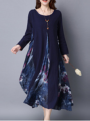 Round Neck Printed Pocket Maxi Dress