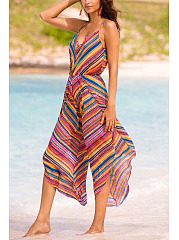 Deep V-Neck  Elastic Waist Patchwork  Asymmetric Stripe Printed Striped Jumpsuits