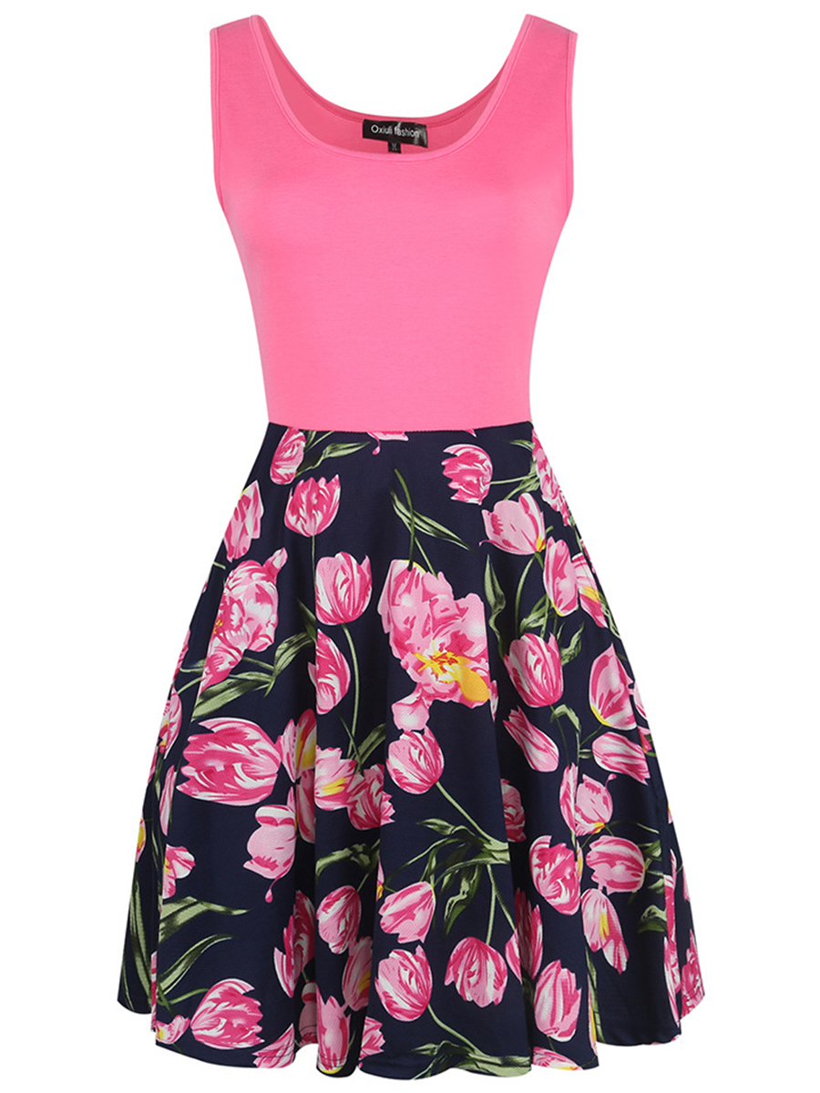 floral printed date summer flared Round Neck Floral Printed Sleeveless Skater Dress