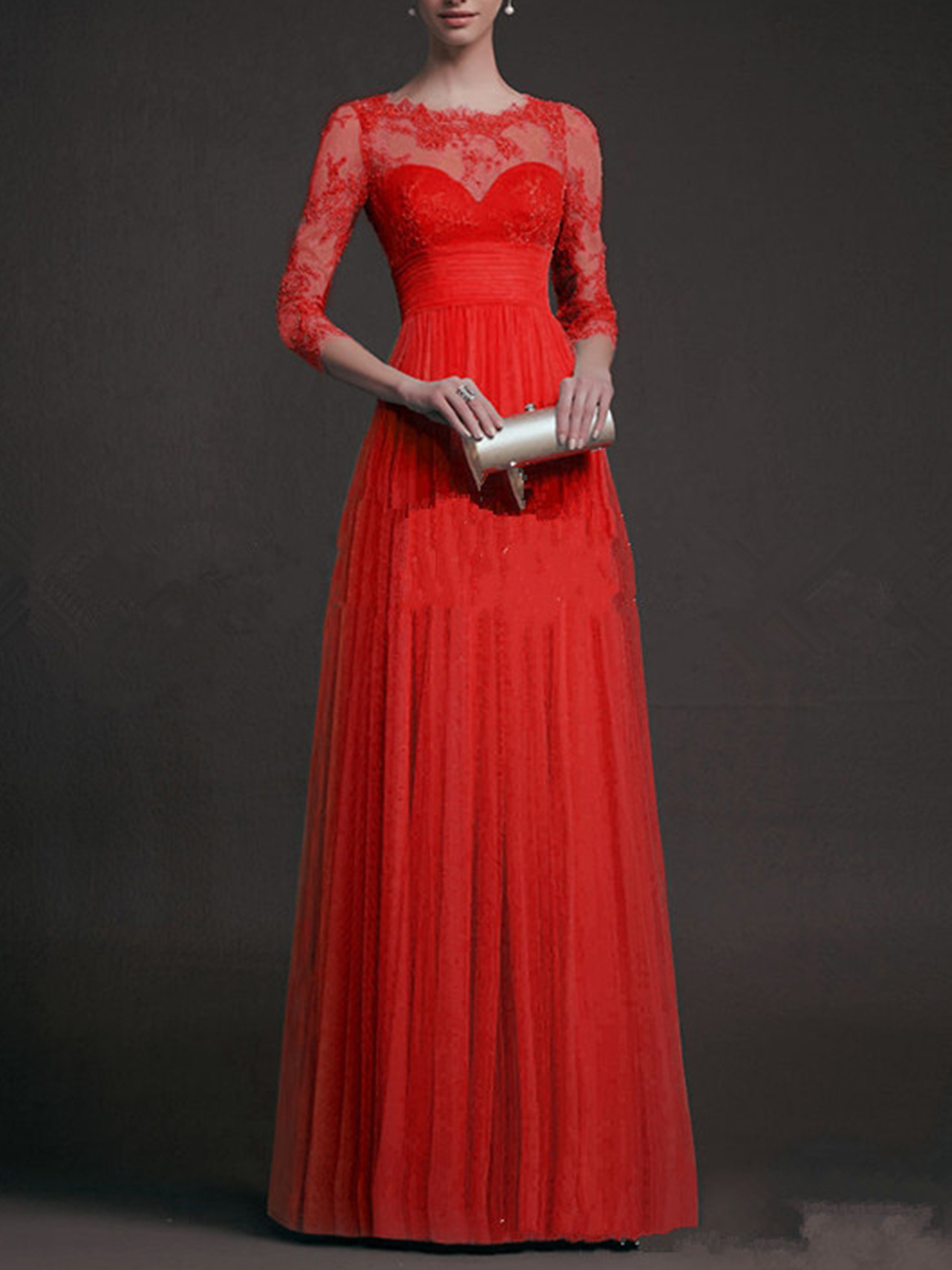 elegant fashion patchwork see-through plain event party autumn spring flared Exquisite Solid See-Through Evening Dress
