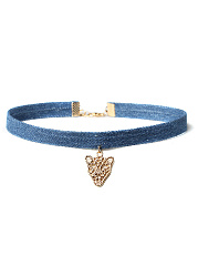 Denim Geometric Metal Simple Choker Necklace