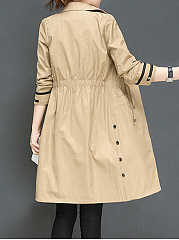 Notch Lapel  Drawstring  Decorative Button  Plain  Long Sleeve Trench Coats