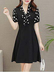 Office Tie Collar Printed Skater Dress