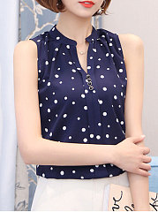 Summer  Polyester  Women  V-Neck  Decorative Button  Polka Dot  Sleeveless Blouses