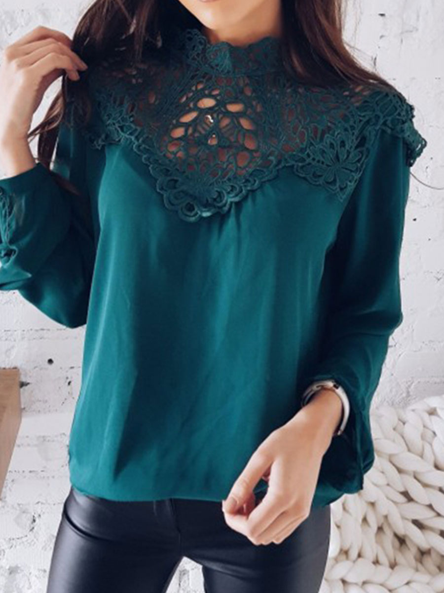 Image For Autumn Spring  Polyester  Women  High Neck  Decorative Lace See-Through  Plain  Long Sleeve Blouses