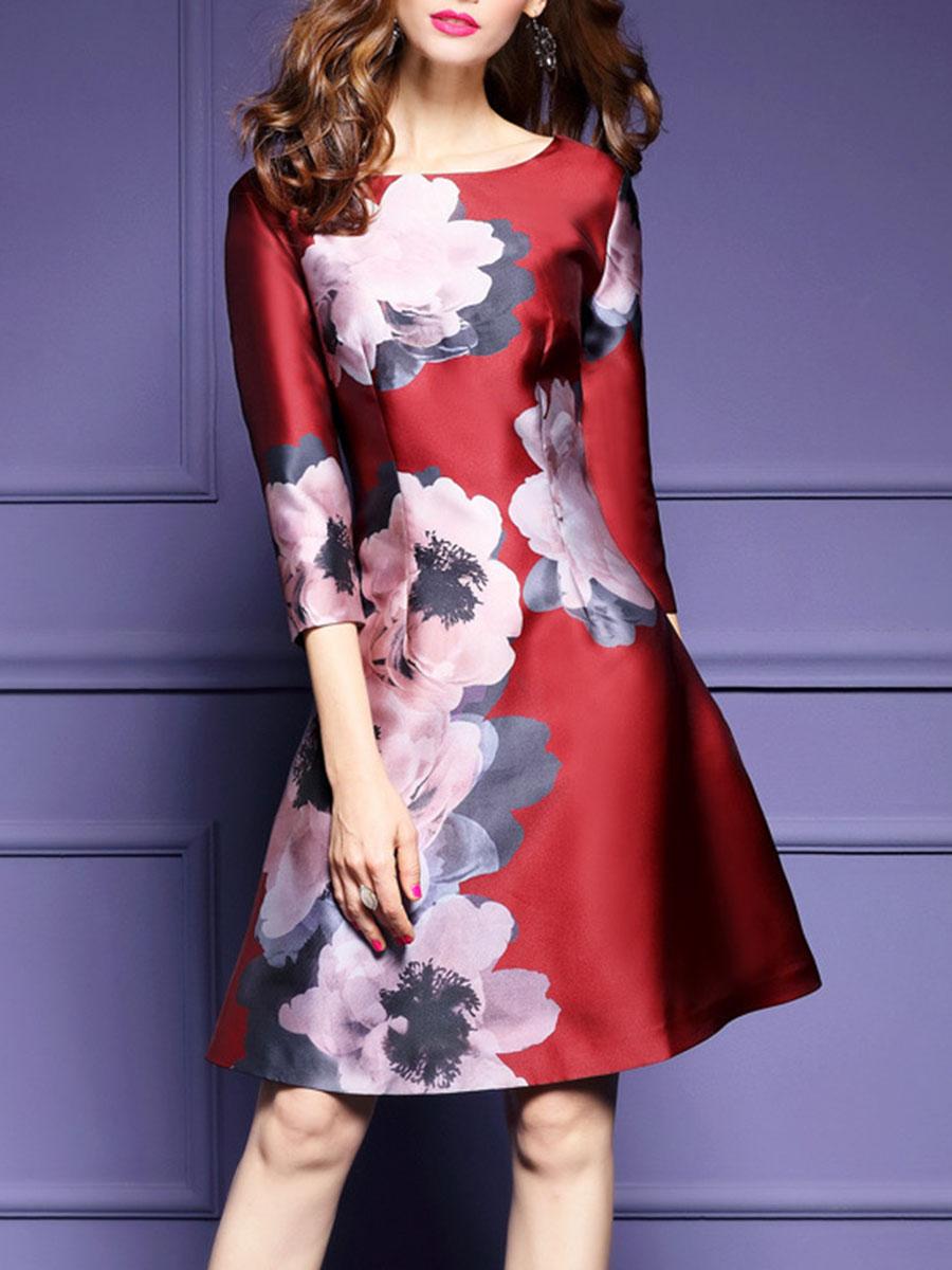 elegant floral printed date autumn spring flared Round Neck  Floral Printed Skater Dress