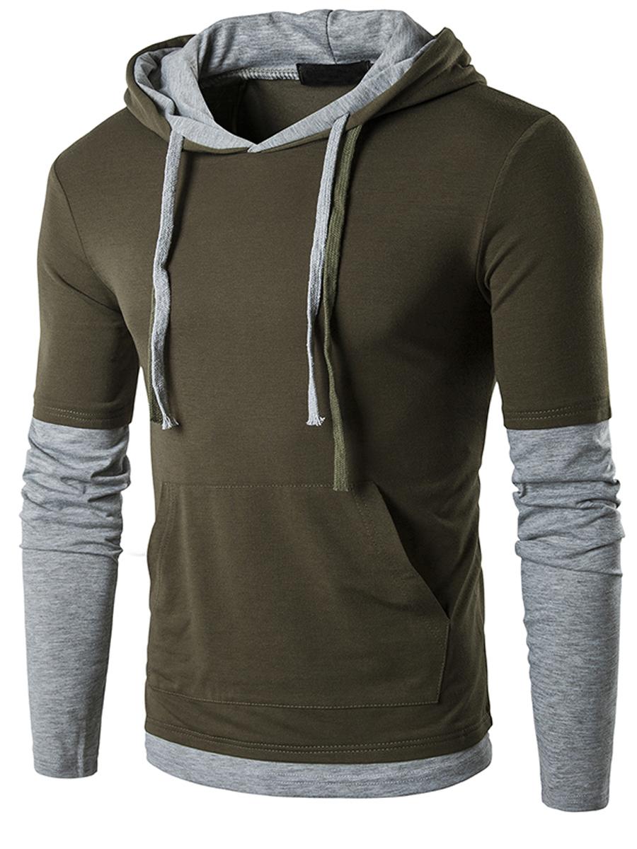 kangaroo pocket color block casual street autumn spring men hoodies Color Block Kangaroo Pocket Men Hoodie