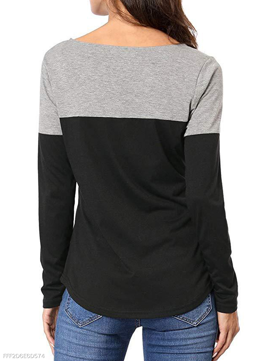 Autumn Spring  Polyester  Women  V-Neck  Patchwork  Color Block Long Sleeve T-Shirts